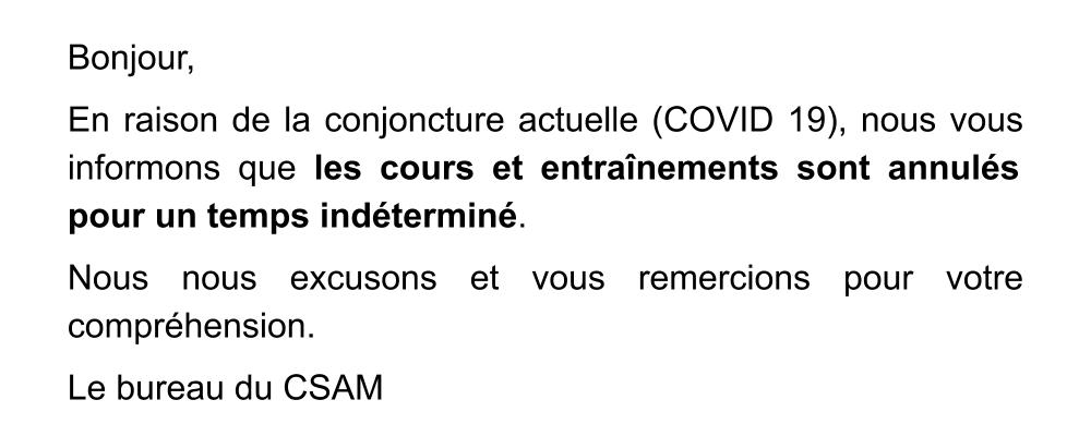 Annulation des cours covid 19