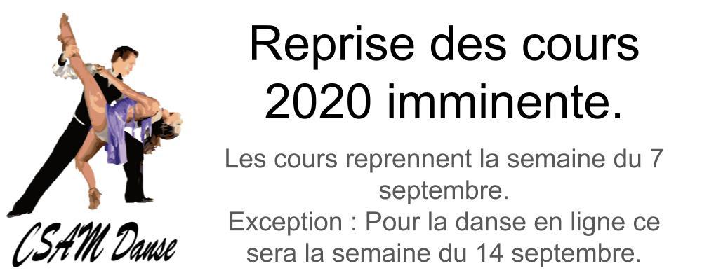 Reprise des cours 2020 imminente.